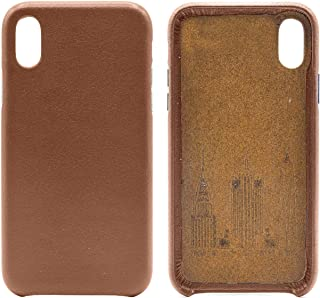 Genuine Cowhide Brown Leather Cell Phone Case for iPhone X & XS