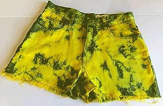 Denim Shorts, Jean, High-Waisted, Tye-Dye, Upcycled, Custom, Yellow, Bleached, Fray, 8, Eddie Bauer
