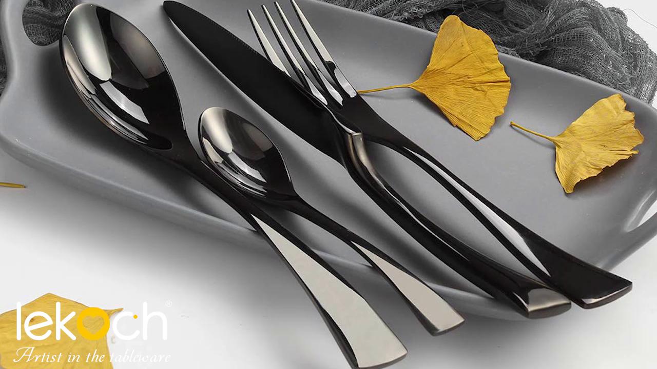 LEKOCH de 4 Piece de acero inoxidable Cuberterías incluyendo incluyen tenedores, cubiertos de cuchillos, cucharas (Negro): Amazon.es: Hogar