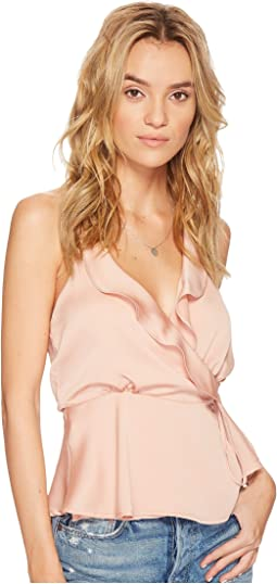 ASTR the Label - Satin Ruffle Wrap Tank Top