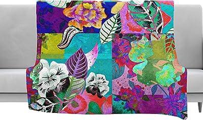80 x 60 Fleece Blanket Kess InHouse Chelsea Victoria Pink Peonies Green Floral Throw