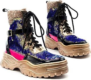 Cape Robbin Mai Glitter Lace Up Chunky Platform Sneaker