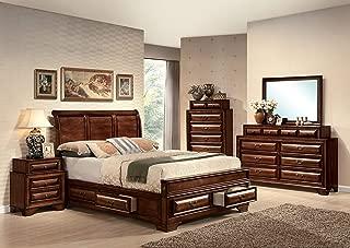 ACME 20444EK Konane Bed, Brown Cherry Finish, Eastern King