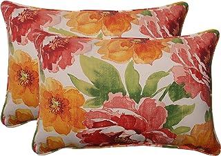 """Pillow Perfect Outdoor/Indoor Muree Primrose Oversized Lumbar Pillows, 24.5"""" x 16.5"""", Orange, 2 Pack"""