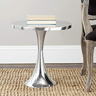 19.3 in. Polished Aluminum Side Table in Silver