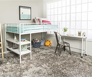 Twin Modern Metal Loft Bed with Desk and Shelves, White Finish