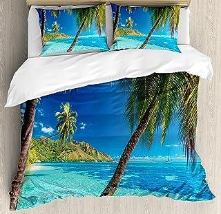 Conjuntos de ropa de cama oceánica, imagen de isla tropical con palmeras y estampado de tema de mar transparente, juego de funda nórdica de 3 piezas, colcha de colcha para niños / niños / adolescentes