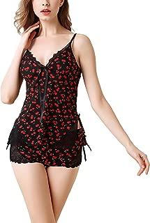 Womens Pajama Set 2 Piece Lace Cami Shorts Sexy Nightwear Sleepwear One Size Fits XS-M