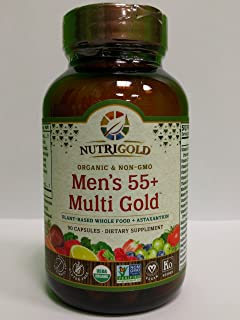 NUTRIGOLD Men's 55+ MULTIVITAMIN 90cap (Organic, nonGMO, wholefood Vitamins and Minerals from Real Fruits, Vegetables, and Herbs. Now Includes Astaxanthin) 30 Servings