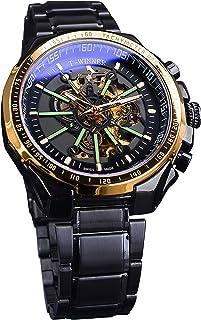 Mens Watches Self-Winding Mechanical Steampunk Luminous Design Black Stainless Steel Automatic Wrist Watch Skeleton Watch