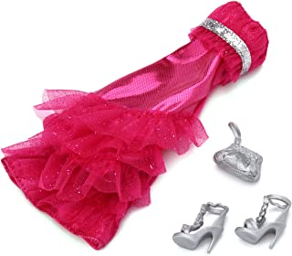 1 X Barbie Gown Fashions - Hot Pink Sparkle Bow Dress with Silver Shoes