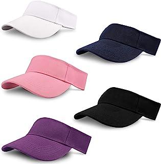 Unisex sport solskydd (5-pack) justerbar keps för tennis, golf, löpning – 5 färger vit, rosa, svart, lila och blå – män kv...