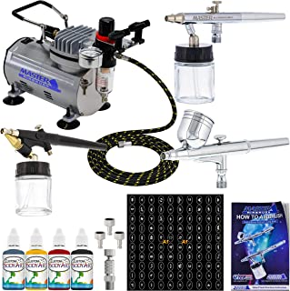 Master Airbrush Water Based Tattoo System 3 Airbrushes, Air Compressor, Book of 100 Stencils, 6' Hose, Airbrush Holder, 3-1oz Water Based Temp Tattoo Ink Bottles (FREE) How to Airbrush Training Book