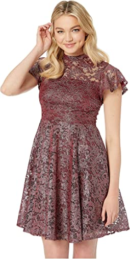 Short Sleeve Mock Neck Foiled Lace Fit and Flare Dress