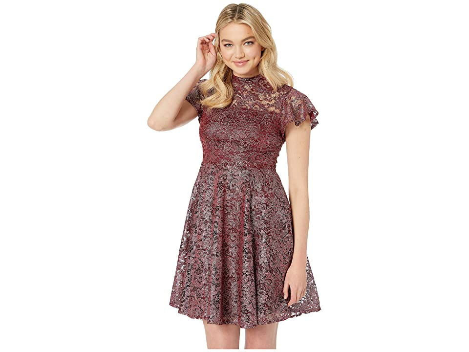 Betsey Johnson Short Sleeve Mock Neck Foiled Lace Fit and Flare Dress (Burgundy) Women