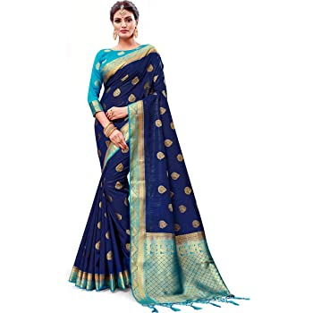 Elina fashion Sarees for Women Banarasi Art Silk Woven Work Saree l Indian Wedding Traditional Wear Sari and Blouse Piece