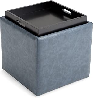 Simpli Home 3AXCOT-254-DBU Rockwood 17 inch Wide Contemporary Square Cube Storage Ottoman with Tray in Denim Blue Faux Leather