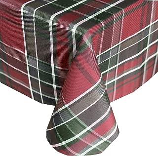 Newbridge Winter Cottage Christmas Plaid Fabric Tablecloth, 100% Cotton Weave Tartan Plaid Holiday Tablecloth, 70 Inch Round
