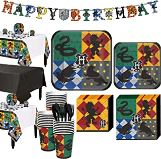 Party City Harry Potter Party Supplies for 24 Guests, Include Plates, Napkins, Table Covers, a Banner, and Decorations