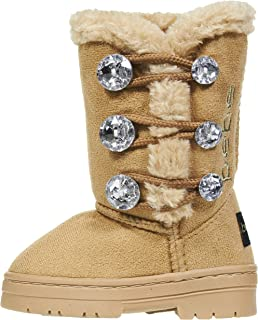 Toddler Girls Winter Boots with Rhinestones Buttons Slip-On Mid-Calf Fashion Shoes