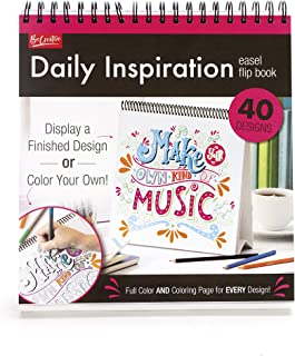 Daily Inspiration Easle Flip Book - 40 Designs To Color Or Display - Full Color and Coloring Page for Every Design!