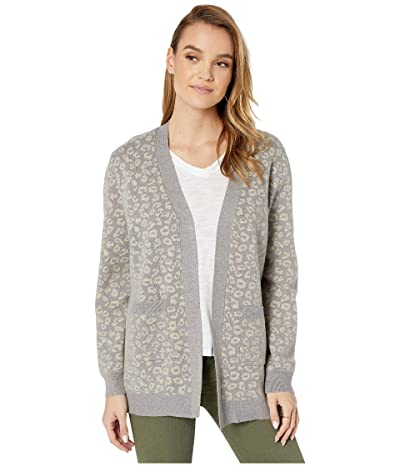 Cupcakes and Cashmere Cheyenne Leopard Jacquard Cardigan (Heather Grey) Women