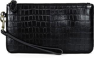 Befen Damen-Clutch mit Handgelenkband aus echtem Vollnarbenleder, Geldbörse, kleine Handtasche für Smartphone, schwarz/kro...