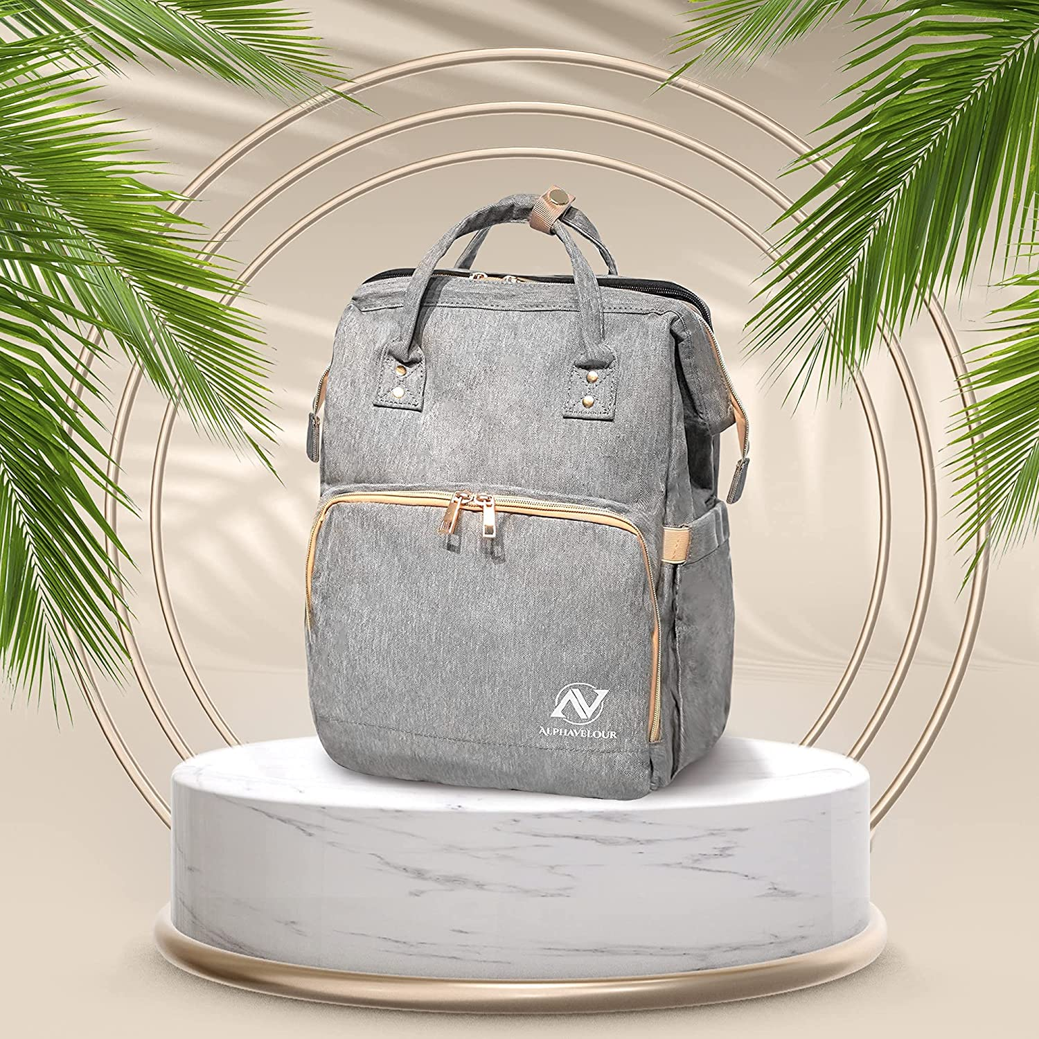 Diaper Bag Backpack with Changing Station, Free Water Bottle Holder (Grey), 3 in 1 Nappy Bag Changing Station, Travel Baby Diaper Backpack with Crib