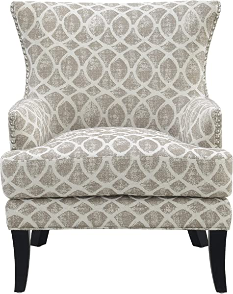 Viv Accent Chair In Tan With Graphic Upholstery And Nailhead Trim By Artum Hill