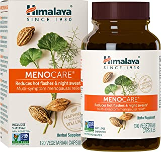 Himalaya MenoCare with Shatavari for Hot Flashes, Night Sweats & Multi-Symptom Menopause Relief, 800 mg, 120 Capsules, 1 Month Supply