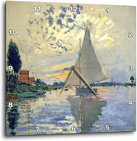 3dRose Print Of Monet Painting Sailboat At Le Petit Wall Clock 10 Inch DPP 203678 1