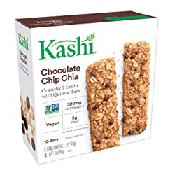 Kashi, Crunchy 7 Grain with Quinoa Bars, Chocolate Chip Chia, Non-GMO Project Verified, 7 oz (10 Cou