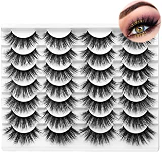 Mink lashes 3D Fluffy Volume 18mm False Eyelashes Natural Look ZEGAINE Wispy Thick Soft Fake Lashes Pack 14 Pairs