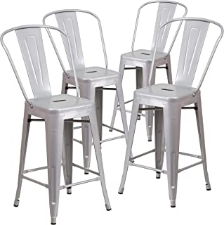 Flash Furniture 4 Pk. 24'' High Silver Metal Indoor-Outdoor Counter Height Stool with Back