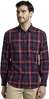 Parx Checkered Cotton Medium Red Slim Fit Cutaway Collar Full Sleeve Shirt
