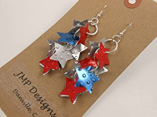 RED WHITE BLUE Earrings. Recycled Soda Can Art. Coca Cola Pepsi. 4th of July Partriotic