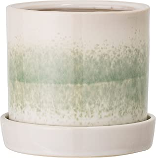 Bloomingville Round White & Green Stoneware Reactive Glaze Flower Pot with Saucer, Green
