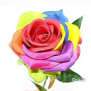 Ooki 12 Long Stem Artificial Silk Rainbow Rose Flower Bush Bouquet for DIY Any Arrangement Home Decor Wedding Party Celebration