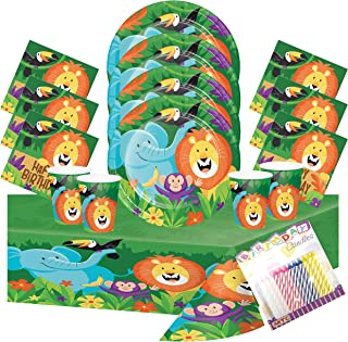 Jungle Safari Theme Party Supplies Pack Serves 16: Dinner Plates Luncheon Napkins Cups and Table Cover w Birthday Candles (Bundle for 16)