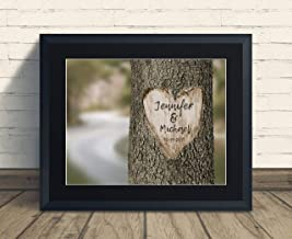 Custom Carved Heart on Tree Art Print Wedding Anniversary Gift, Personalized Keepsake Artwork includes Couples Initials and Established Date, Gift for the Newlyweds and Bridal Shower