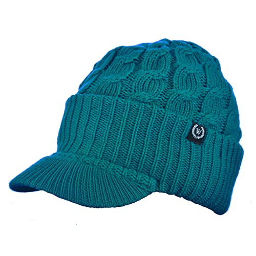 cda48849ccb Newsboy Cable Knitted Hat with Visor Bill Winter Warm Hat for Women (Teal)