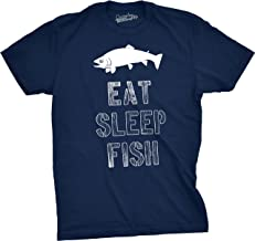 Mens Eat Sleep Fish T Shirt - Funny Vintage Fishing Outdoors Tee