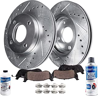 Detroit Axle - Pair (2) Front Drilled and Slotted Disc Brake Rotors w/