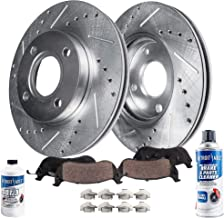 Detroit Axle - Pair (2) Front Drilled and Slotted Disc Brake Rotors w/Ceramic Pads w/Hardware & Brake Cleaner & Fluid for 1994-2001 2002 2003 2004 2005 Honda Civic - [2010-2014 Honda Insight]