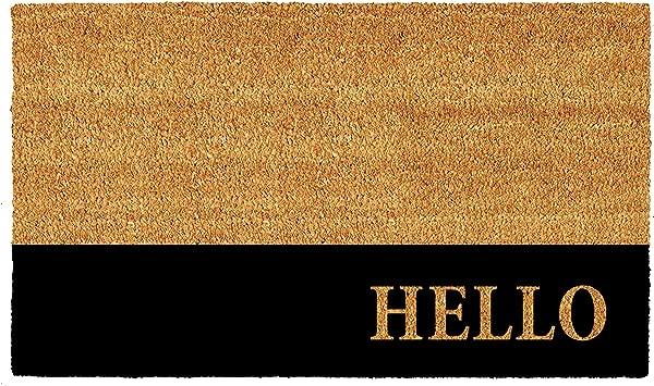 Calloway Mills AZ104863672 Hello Black Stripe Doormat 36 X 72 Natural