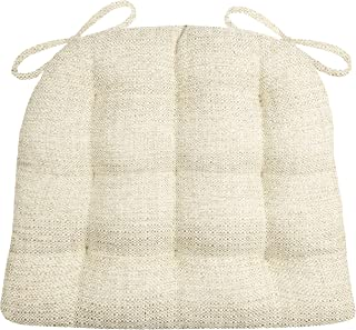 Barnett Home Decor Brisbane Natural Chair Pads with Ties - Extra-Large - Latex Foam Fill, Reversible - Made in USA (Neutral/XL)