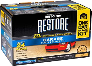 Rust-Oleum Restore Polycuramine Garage Coat, 2-Part Tan Gloss Garage Floor Coating Kit (Actual Net Contents: 76-fl oz) (Tan)…