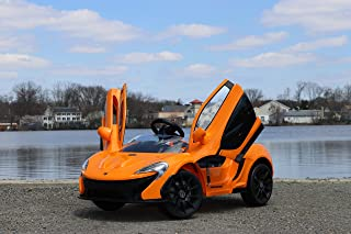 First Drive Mclaren P1 Orange 12v Kids Cars - Dual Motor Electric Power Ride On Car with Remote, MP3, Aux Cord, Led Headlights, and Premium Wheels