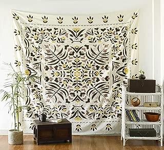 Labhanshi Harlow Folk Floral Tapestry - Mandala Wall Hanging - Hippie Bohemian Wall Decor Art - Boho Queen Size Indian Cotton Bedspread