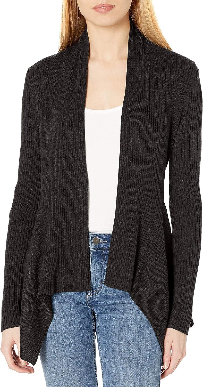 Daily Ritual Women's Ultra-Soft Ribbed Draped Cardigan Sweater